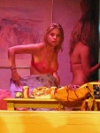 "Gorgeous actresses in bikinis Vanessa Hudgens, Selena Gomez and Ashley Benson film scenes in a pool for upcoming movie ""Spring Breakers"" in Florida"