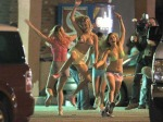 Actresses Vanessa Hudgens, Selena Gomez, Ashley Benson and Rachel Korine film a drinking scene for their new movie 'Spring Breakers' in Florida