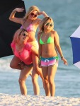 Actresses Vanessa Hudgens, Rachel Korine, and Ashley Benson film scenes in bikinis for their new movie 'Spring Breakers' in Florida