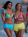 Actresses Selena Gomez and Ashley Benson film scenes in bikinis for their new movie 'Spring Breakers' in Florida.