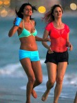 Actresses Selena Gomez and Rachel Korine film scenes in bikinis for their new movie 'Spring Breakers' in Florida.