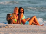 Actresses Vanessa Hudgens, Selena Gomez, Ashley Benson and Rachel Korine film scenes in bikinis for their new movie 'Spring Breakers' in Florida