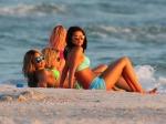 Actresses Vanessa Hudgens, Selena Gomez, Ashley Benson and Rachel Korine film scenes in bikinis for their new movie 'Spring Breakers' in Florida