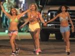 Actresses Vanessa Hudgens, Selena Gomez, Ashley Benson and Rachel Korine film a drinking scene for their new movie 'Spring Breakers' in Florida