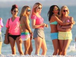 Actresses Selena Gomez, Vanessa Hudgens and Ashley Benson film scenes in bikinis for their new movie 'Spring Breakers' in Florida