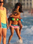 Actresses Vanessa Hudgens and Selena Gomez film scenes in bikinis for their new movie 'Spring Breakers' in Florida