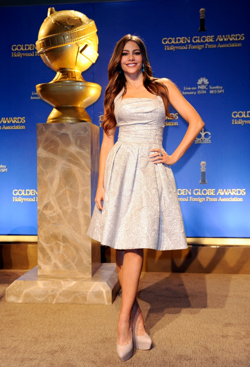 Actress Sofia Vergara poses during the nomination announcements for the 69th Annual Golden Globe Awards in the Beverly Hills, California