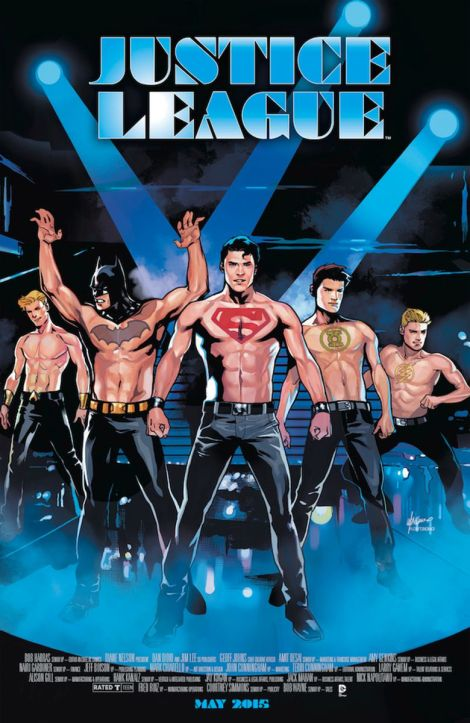 Justice League #40, portada inspirada en Magic Mike por Emanuela Lupacchino