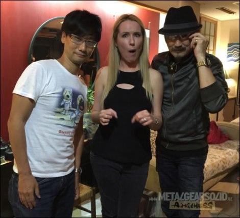 Hideo Kojima, Donna Burke y Akio Otsuka durante la fiesta de lanzamiento de  MGSV's