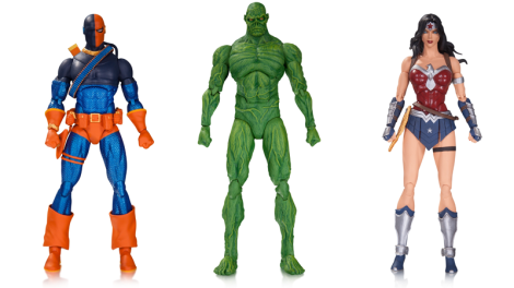 """Judas Contract"" Deathstroke, ""Dark Genesis"" Swamp Thing, and ""Amazo Virus"" Wonder Woman. $28 dólares cada una, en tiendas en septiembre 2016."