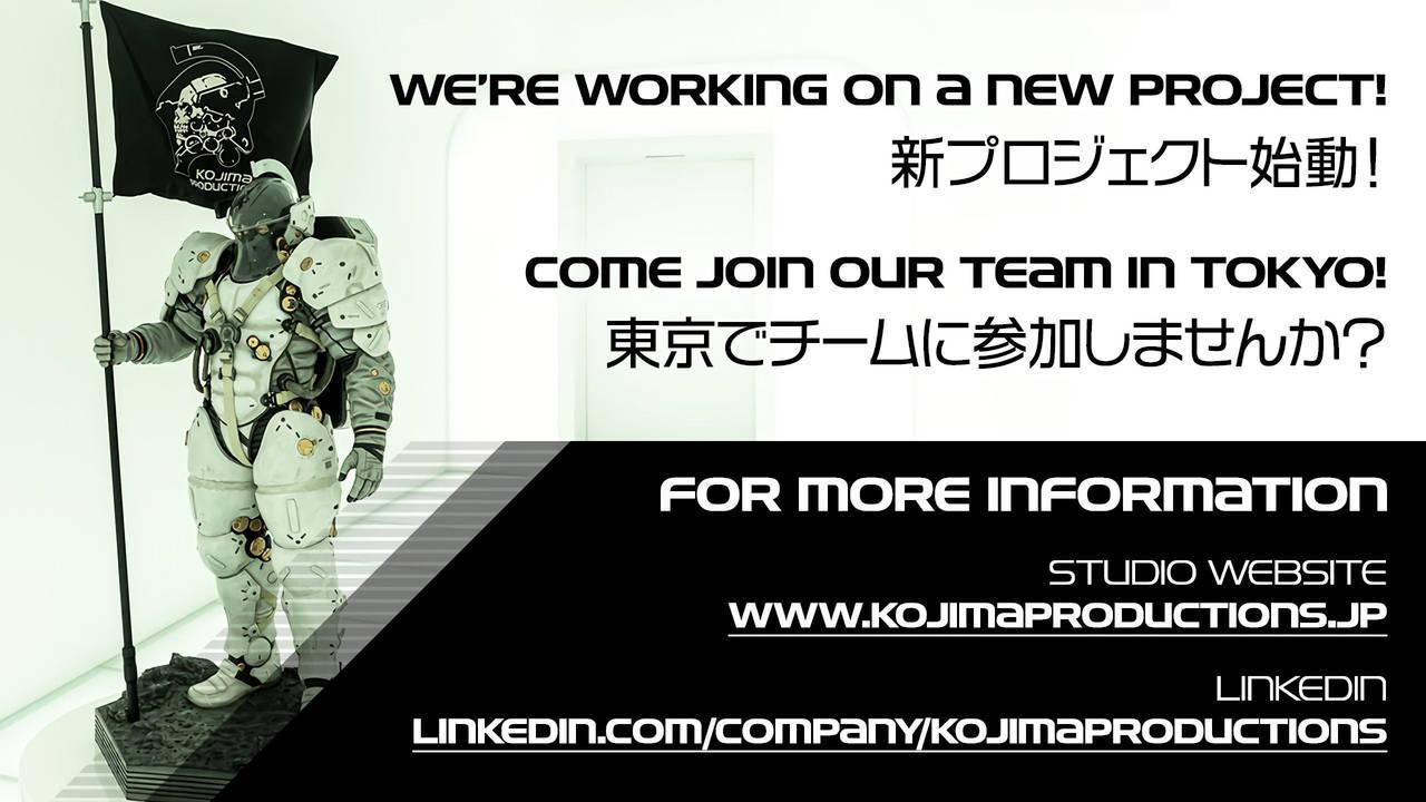 Kojima Productions | El estudio confirma que está trabajando en un nuevo proyecto.